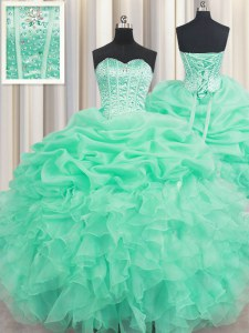 Beautiful Apple Green Ball Gowns Organza Sweetheart Sleeveless Beading and Ruffles and Pick Ups Floor Length Lace Up 15th Birthday Dress