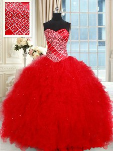 Latest Sleeveless Tulle Floor Length Lace Up Quince Ball Gowns in Red with Beading and Ruffled Layers