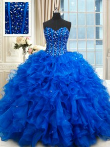 Fancy Organza Sleeveless Floor Length Quince Ball Gowns and Beading and Ruffles