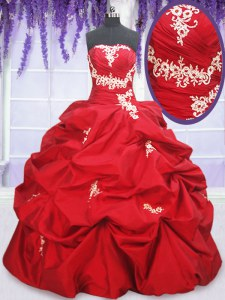 Taffeta Strapless Sleeveless Lace Up Appliques and Pick Ups Sweet 16 Dress in Red
