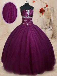 Dark Purple Ball Gowns Beading 15th Birthday Dress Lace Up Tulle Sleeveless Floor Length