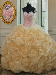 Champagne Quinceanera Gown Military Ball and Sweet 16 and Quinceanera and For with Beading Sweetheart Sleeveless Lace Up