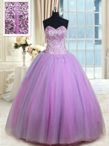 Custom Design Sleeveless Tulle Floor Length Lace Up 15th Birthday Dress in Lavender with Beading