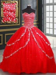 Sweetheart Sleeveless Quinceanera Gown Beading and Appliques Red Tulle