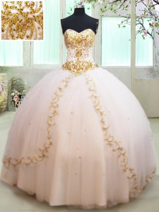 Sleeveless Tulle Floor Length Lace Up 15 Quinceanera Dress in White with Beading and Appliques