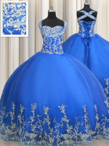 Customized Straps Floor Length Lace Up Ball Gown Prom Dress Blue for Military Ball and Sweet 16 and Quinceanera with Beading and Appliques