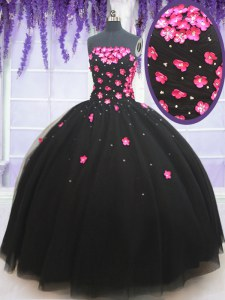 Chic Black Ball Gowns Beading and Appliques Quinceanera Dresses Lace Up Tulle Sleeveless Floor Length