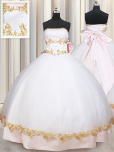 Romantic Floor Length Ball Gowns Sleeveless White Quince Ball Gowns Lace Up