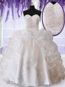 Pretty White Organza Lace Up Sweetheart Sleeveless Floor Length Quinceanera Gown Beading and Appliques and Pick Ups