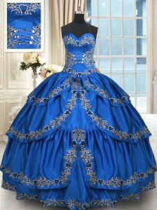Dramatic Blue Taffeta Lace Up Sweetheart Sleeveless Floor Length Quinceanera Dresses Beading and Embroidery and Ruffled Layers