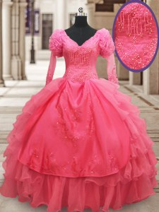 Pink Ball Gowns Beading and Embroidery and Ruffled Layers Ball Gown Prom Dress Zipper Organza Half Sleeves Floor Length
