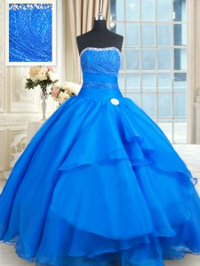 Blue Lace Up Strapless Beading and Lace and Sequins 15 Quinceanera Dress Organza Sleeveless Court Train