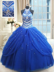 Vintage Halter Top Sleeveless Floor Length Beading and Pick Ups Lace Up Quince Ball Gowns with Royal Blue
