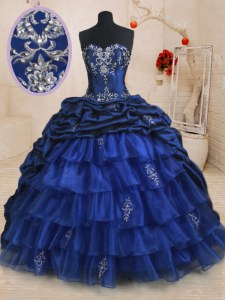 Pick Ups Ruffled Sweetheart Sleeveless Brush Train Lace Up Sweet 16 Dresses Royal Blue Organza and Taffeta