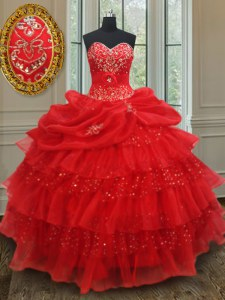 Red Sleeveless Floor Length Beading and Ruffled Layers and Sequins and Pick Ups Lace Up Vestidos de Quinceanera