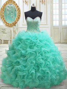 Apple Green Sweetheart Lace Up Beading and Ruffles Sweet 16 Quinceanera Dress Brush Train Sleeveless