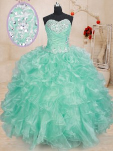 Apple Green Sleeveless Beading and Ruffles Floor Length Sweet 16 Dress