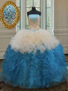 Ideal Sleeveless Organza Floor Length Lace Up Sweet 16 Quinceanera Dress in Multi-color with Beading and Ruffles