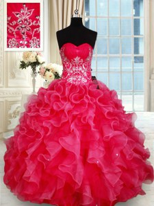 Pretty Red Sleeveless Floor Length Beading and Ruffles Lace Up Quinceanera Dress