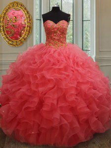 Hot Selling Sleeveless Floor Length Beading and Ruffles Lace Up Sweet 16 Dress with Coral Red