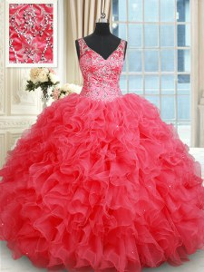 Fashionable Sleeveless Backless Floor Length Beading and Ruffles Quinceanera Gowns