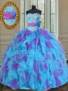 Luxurious Floor Length Multi-color Sweet 16 Quinceanera Dress Organza and Tulle Sleeveless Beading and Ruffles