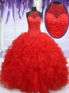 Cute Red Halter Top Lace Up Beading and Ruffles Sweet 16 Dresses Sleeveless