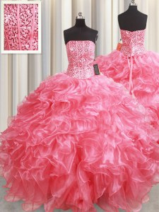 Custom Fit Floor Length Pink Quinceanera Gown Strapless Sleeveless Lace Up