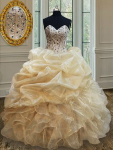 Champagne Sleeveless Beading and Ruffles Floor Length 15 Quinceanera Dress