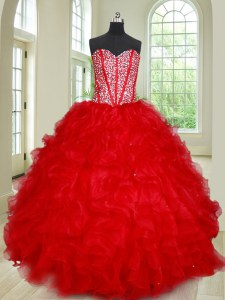 Fantastic Beading and Ruffles Quinceanera Gown Red Lace Up Sleeveless Floor Length