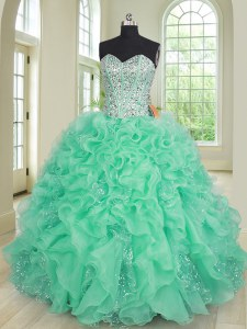Classical Beading and Ruffles Quinceanera Gown Turquoise Lace Up Sleeveless Floor Length