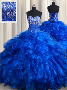Royal Blue Quinceanera Dress Organza Brush Train Sleeveless Beading and Ruffles