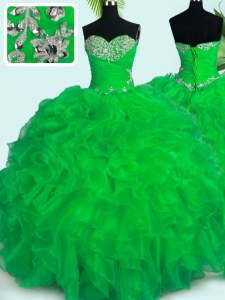 Attractive Green Sweetheart Lace Up Beading and Ruffles Ball Gown Prom Dress Sleeveless