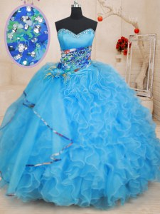Admirable Baby Blue Sleeveless Beading and Ruffles and Pattern Floor Length Ball Gown Prom Dress