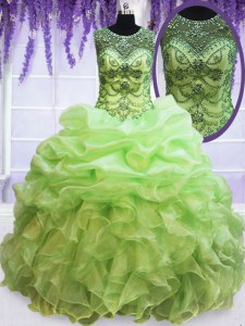 Stunning See Through Scoop Lace Up Beading and Ruffles and Pick Ups Vestidos de Quinceanera Sleeveless