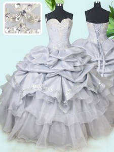 Glorious Grey Ball Gowns Sweetheart Sleeveless Organza and Taffeta Floor Length Lace Up Beading and Sequins and Pick Ups Sweet 16 Dresses