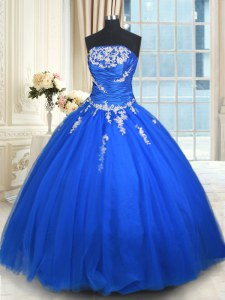 Wonderful Ball Gowns Quinceanera Gown Blue Strapless Tulle Sleeveless Floor Length Lace Up