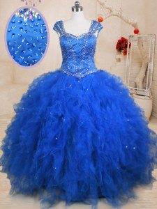 Straps Cap Sleeves Lace Up Quinceanera Dresses Blue Tulle