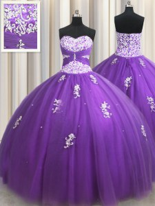 Sweet Floor Length Eggplant Purple 15th Birthday Dress Sweetheart Sleeveless Zipper