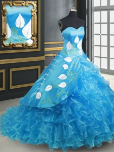 Inexpensive Baby Blue Sleeveless With Train Embroidery and Ruffled Layers Lace Up Quinceanera Gown