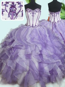 Sweet White And Purple Sweetheart Neckline Beading and Ruffles Quinceanera Dresses Sleeveless Lace Up