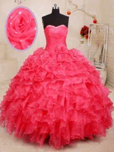 Coral Red Sleeveless Beading and Ruffles and Sequins and Hand Made Flower Floor Length Sweet 16 Quinceanera Dress