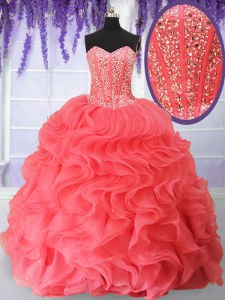 Vintage Sweetheart Sleeveless Lace Up Quince Ball Gowns Watermelon Red Organza