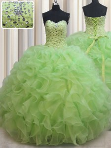 Yellow Green Ball Gowns Sweetheart Sleeveless Organza Floor Length Lace Up Beading and Ruffles Quinceanera Dresses