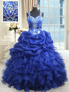 Straps Beading and Ruffles and Pick Ups Quinceanera Dress Royal Blue Zipper Sleeveless Floor Length