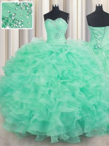 Turquoise Organza Lace Up Sweetheart Sleeveless Floor Length Sweet 16 Dresses Beading and Ruffles