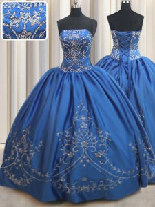 Royal Blue Sleeveless Satin Lace Up Quinceanera Dresses for Military Ball and Sweet 16 and Quinceanera