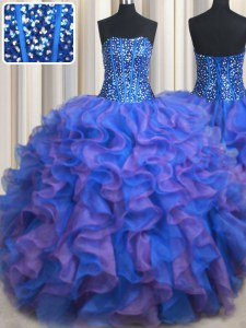 Noble Beading and Ruffles Sweet 16 Dresses Blue and Purple Lace Up Sleeveless Floor Length