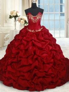 Captivating Wine Red Ball Gowns Taffeta Sweetheart Sleeveless Beading and Pick Ups Floor Length Lace Up Ball Gown Prom Dress