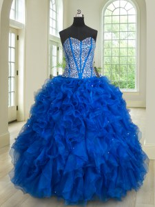 Flare Ball Gowns Ball Gown Prom Dress Royal Blue Sweetheart Organza Sleeveless Floor Length Lace Up